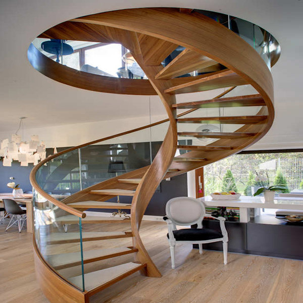 Solid wood steps round staircase design for Round staircase designs interior