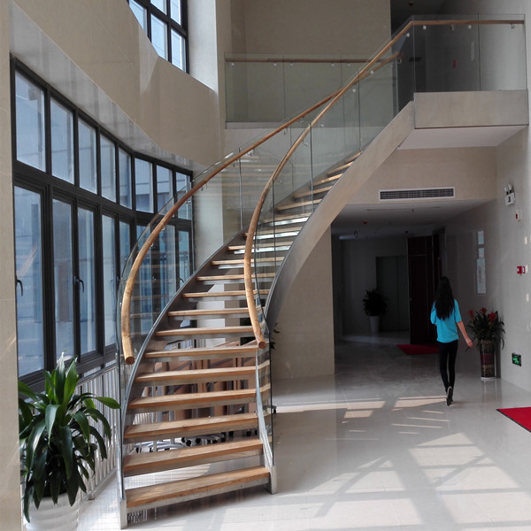 Double curved stringer staircase for Double curved staircase