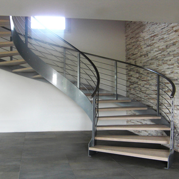 Stainless Steel Curved Staircase With Tempered Glass Panel