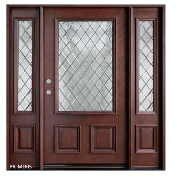 swing solid wooden glass door