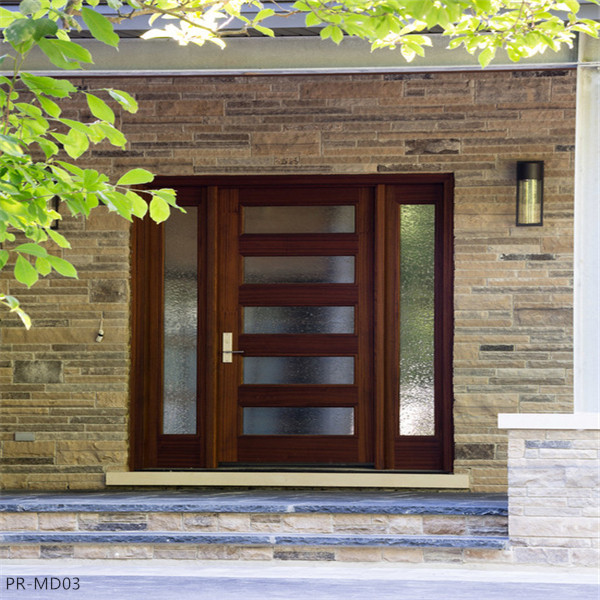 Entrance swing solid wooden door with tempered glass for Solid wood door with glass