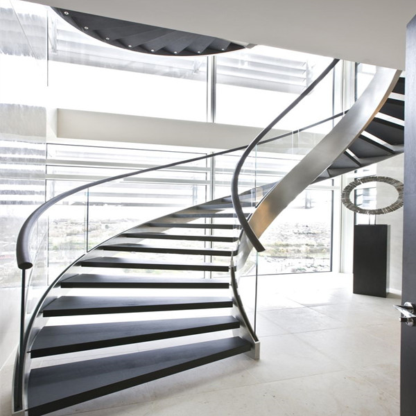 Helical Wooden Staircase With Glass Railing