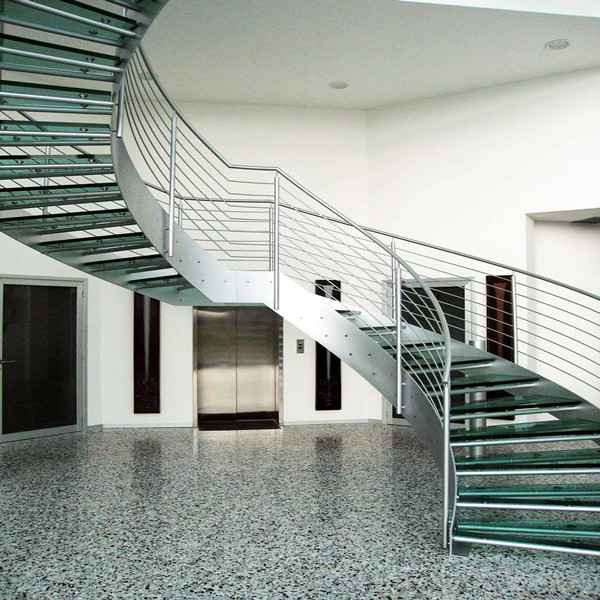 Customized Curved Staircase With Stainless Steel Handrail