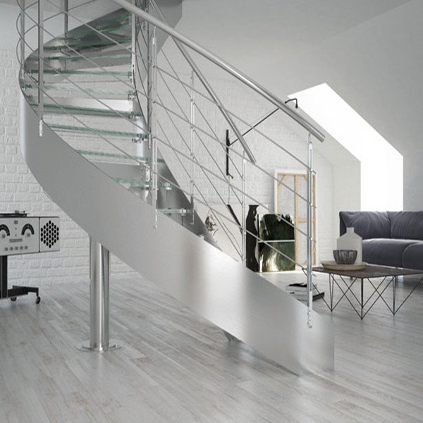 Circular metal staircase steel glass curved stair for Curved staircase