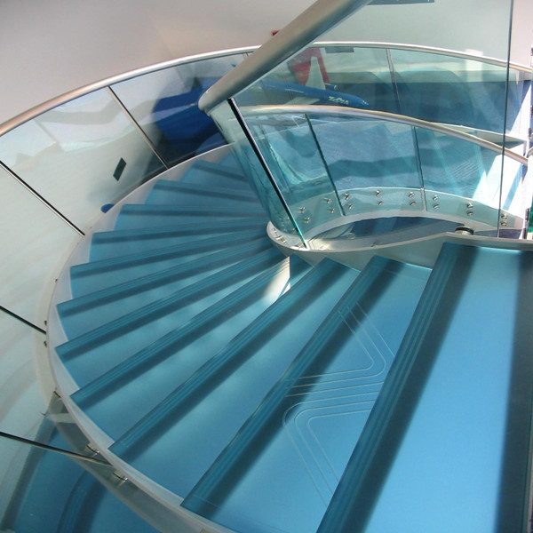Circular Metal Staircase Steel Glass Curved Stair