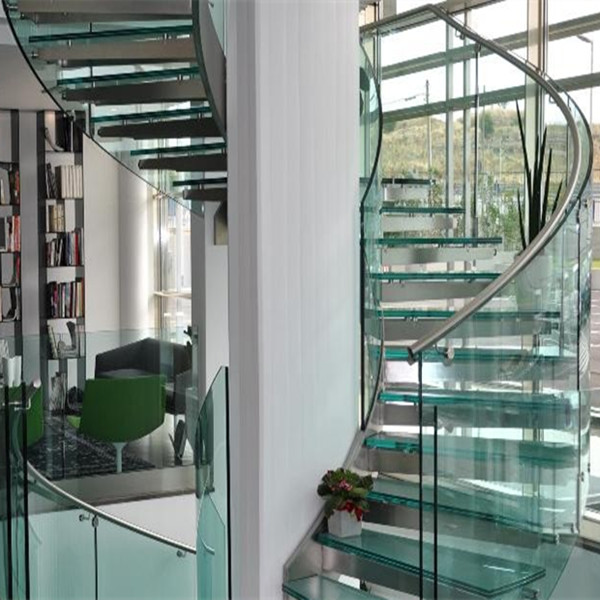 Modern Curved Staircase With Glass Railings