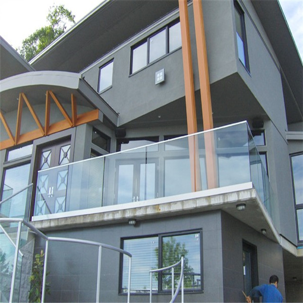 Balcony U Channel Glass Railing Steel Handrail