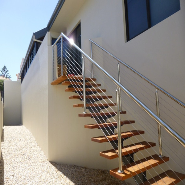Stainless steel stair handrail cable railing for staircase - Escaleras al aire ...