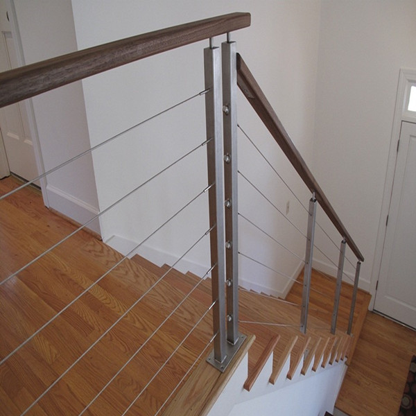 Steel Cable / Wire Railing / Balustrade With Round Post And Square Handrail  PR B117 ...