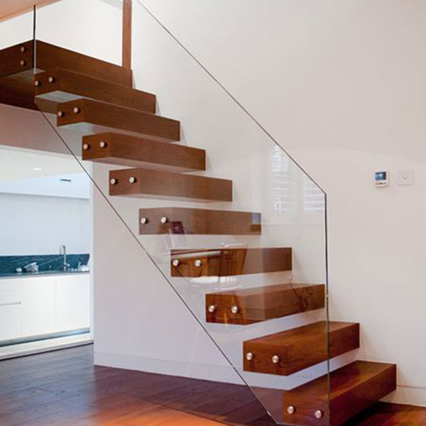 ... Floating Stair Solid Wood Treads Floating Stair Glass Balustrades and  Wood Treads Floating Staircase PR- ...