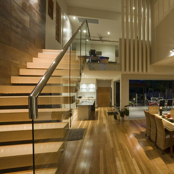 Floating Staircase Ideas: Build Apartment Solid Wood Floating Staircase Designs