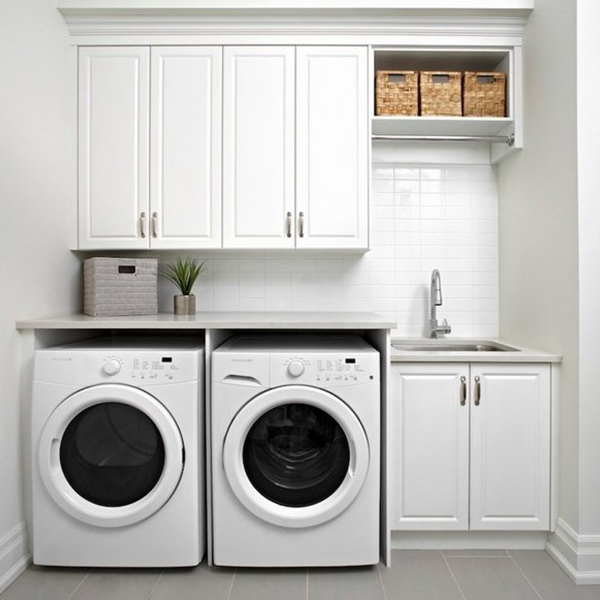 Paint Finish Solid Wood Laundry Cabinet, Washing White Painted Cabinets
