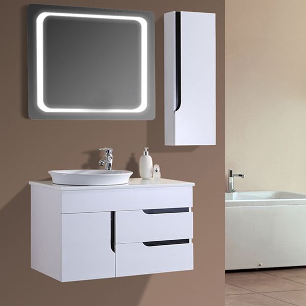 Australia Simple Style White Lacquer Bathroom Vanity Cabinet
