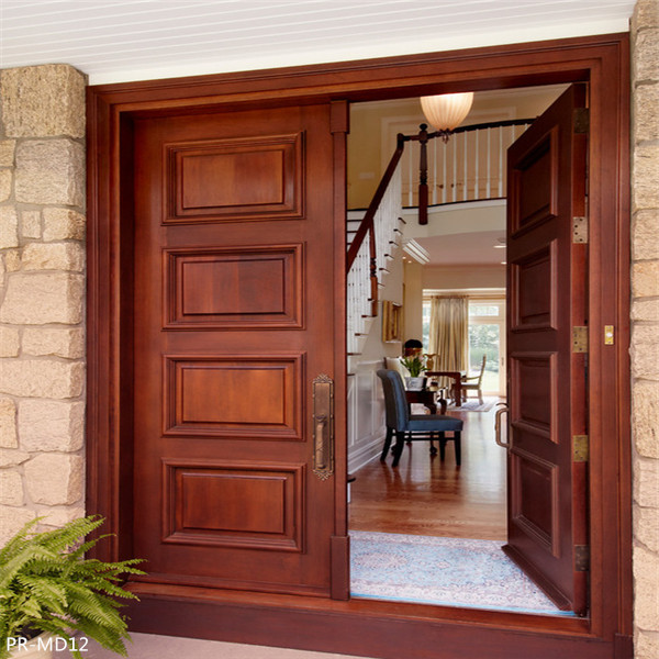 Fancy Double Solid Wood Doors Exterior