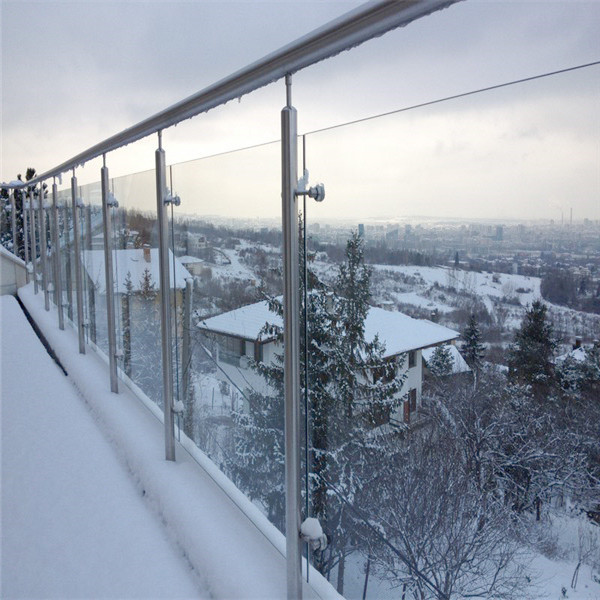 Safe Solid Ss Glass Railing Balcony Frameless Glass