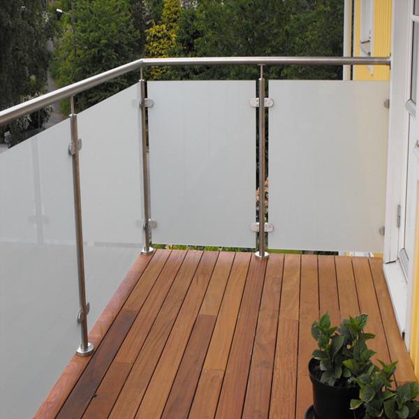 Safe solid ss glass railing balcony frameless glass for Glass balcony railing
