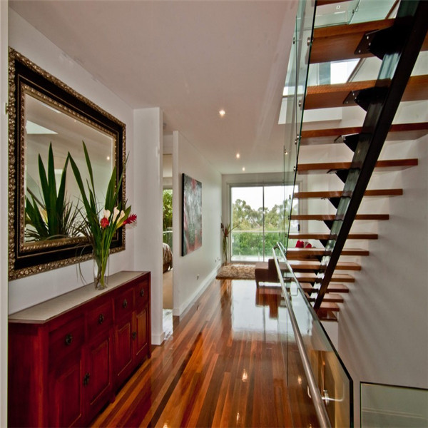 Indoor Iron Straight Staircase with Metal Frame and Wood Step