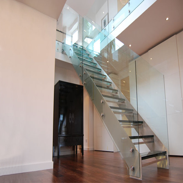 Prefabricated Indoor Straight Staircase With Glass Treads