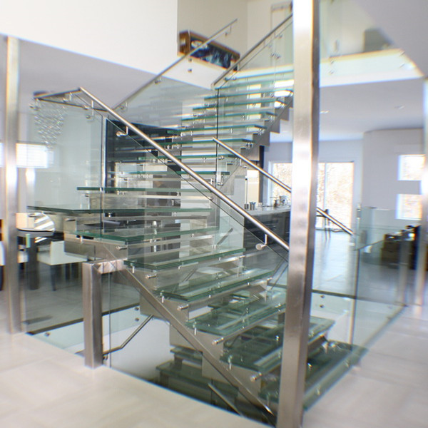 304 316 Stainless Steel Modern Staircase With Glass Tread