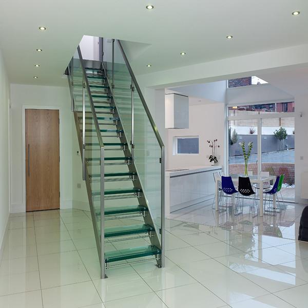 Modern Design Interior Steel Glass Straight Staircase