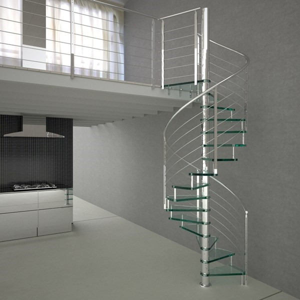 Steel Glass Railing Spiral Staircase For Small Space