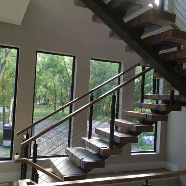 American Apartment: American Apartment Wooden Steps Cable Railing Staircase