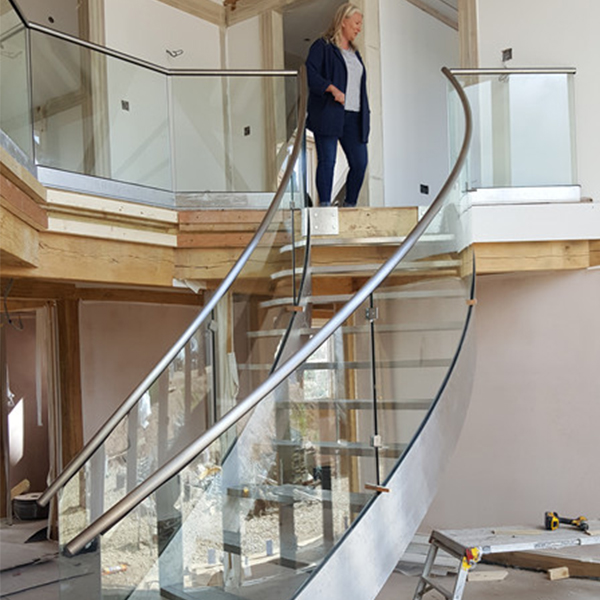 Interior Glass Curved Staircase Project