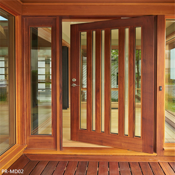 Outside Swing Solid Wooden Glass Door