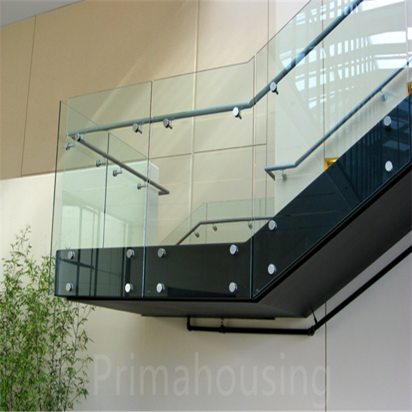 Tempered Glass Interior Stairs Railing Designs With Standoff