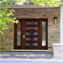 Entrance swing solid wooden door with tempered glass